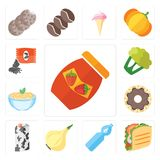Set of Jam, Taco, Water, Onion, Milk, Doughnut, Pasta, Cauliflow. Set Of 13 simple editable icons such as Jam, Taco, Water, Onion, Milk, Doughnut, Pasta Vector Illustration