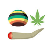 Set Jamaica drug addict. Rasta CAP, spliff and cannabis leaf. Ve. Ctor illustration of drugs Royalty Free Stock Image