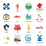 Set of japan currency, nautilus shell, chainsaw, guidestar, king kong, construction, arm wrestling, creek, icons. Set Of 16 simple  icons such as japan currency Stock Image
