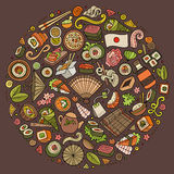 Set of Japan food cartoon doodle objects, symbols and items Stock Photography