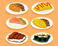 Set of Japan food. Royalty Free Stock Photo