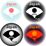 Set of Japan logo with folding fan Royalty Free Stock Photos
