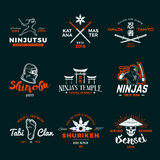 Set of Japan Ninja Logo. Ninjato sword insignia design. Vintage shuriken badge. Mixed martial art tournament t-shirt Royalty Free Stock Image