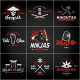 Set of Japan Ninjas Logo. Katana weapon insignia design. Vintage ninja mascot badge. Martial art Team t-shirt Stock Photography