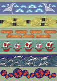 Set of Japan ornaments. Set of vector pictures containing ethnical Japan elements for cloning and putting together Royalty Free Stock Image