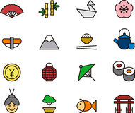 Set of Japan related icons. Illustrated set of cartoon icons related to the country of Japan Stock Image