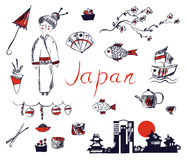 Set of Japan symbols - hand drawn design Stock Image