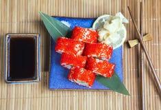 Set of Japanese caviar sushi Royalty Free Stock Images