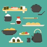 Set of Japanese Cuisine: Sushi, Soup, Noodle and etc. Royalty Free Stock Images