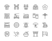 Set of Japanese Culture Line Icons. Bonsai Tree, Katana, Sushi, Kimono and more. royalty free illustration