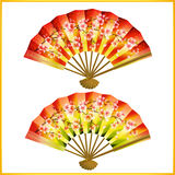 Set of Japanese fans over white Stock Photography