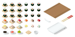 Set of Japanese food Icons. On white background Created For Mobile, Web, Decor, Print Products, Applications. Vector illustration Royalty Free Stock Images