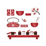 Set of Japanese food, sushi, cups with rice and sticks, tea bowls, cherry blossom in cartoon style royalty free illustration