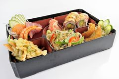 Set of japanese food sushi and tempura royalty free stock photo