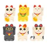 set of Japanese Lucky Cat Maneki Neko Royalty Free Stock Photos