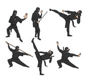 Set of japanese ninja warriors dressed in black with swords and other weapons. Vector illustration, isolated on white. vector illustration