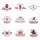 Set of Japanese Ninjas Logo. Katana master insignia design. Vintage ninja mascot badge. Martial art Team t-shirt Stock Image