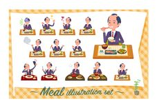 Flat type samurai Businessman_Meal. A set of japanese samurai businessman about meals.Japanese and Chinese cuisine, Western style dishes and so on.It`s vector stock illustration
