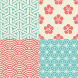 Set of Japanese seamless patterns. Japanese inspired seamless patterns in blue, cream and red Royalty Free Stock Images