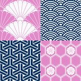 Set of Japanese seamless patterns Stock Photography