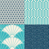 Set of Japanese seamless patterns. 4 Japanese inspired seamless patterns in blue, turquoise and cream Royalty Free Stock Images