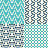 Set of Japanese seamless patterns. 4 Japanese inspired seamless patterns in blue, turquoise and white Royalty Free Stock Images