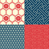 Set of Japanese seamless patterns. 4 Japanese inspired seamless patterns in red, cream and blue Stock Photos