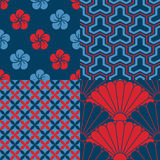 Set of Japanese seamless patterns. 4 Japanese inspired seamless patterns in red and shades of blue Stock Photo