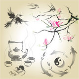 Set in a Japanese style of sumi-e. The branch of magnolia in the traditional Japanese style of sumi-e, tea ceremony and swallows, Japanese carp and yin yang Royalty Free Stock Image