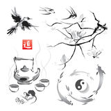 Set in a Japanese style of sumi-e Stock Photo