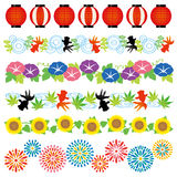 Set of Japanese summer frames. Set of Japanese summer decorations Stock Photos