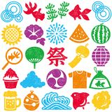 Set of Japanese summer icons. colorful stamp set. Set of Japanese summer stamp icons. colorful vector illustration Stock Images