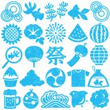 Set of Japanese summer icons. stamp set. Set of Japanese summer stamp icons. vector illustration Stock Photos