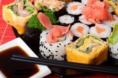 Set of Japanese sushi. Closeup set of Japanese sushi Stock Photo