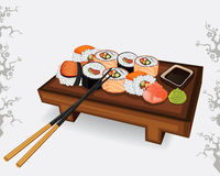 Set of Japanese sushi different species Royalty Free Stock Photography