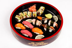 Set of Japanese sushi on a plate. Traditional sushi susi japanese food Set of sushi and rolls with a salmon stock image