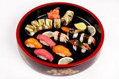Set of Japanese sushi on a plate stock image