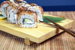 Set of Japanese sushi tasty on a wooden tray Royalty Free Stock Image