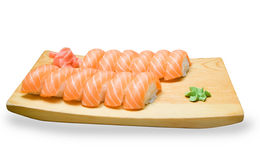 Set of Japanese sushi on a wooden plate Stock Image