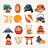 Set of Japanese travel icons. royalty free illustration