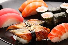 Set japanische Sushi stockfoto