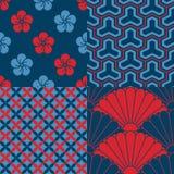 Set Japońscy bezszwowi wzory Zdjęcie Stock