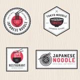 Set japoński kluski logo, odznaki, sztandary, etykietki, emblemat dla azjatykciej karmowej restauraci Obrazy Royalty Free