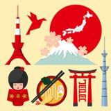 Set Japonia ikona w płaskim projekcie Fotografia Stock
