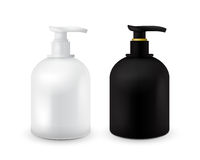Set of Jar with liquid soap for your logo and design is easy to change colors. Realistic black and white cosmetic Royalty Free Stock Images