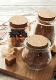 Set of jars with Christmas spices Royalty Free Stock Image