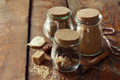 Set of jars with Christmas spices Royalty Free Stock Images