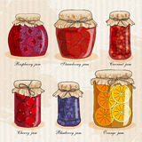 Set of jars with fruits Stock Photos