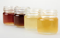 Set of jars of honey Stock Photography