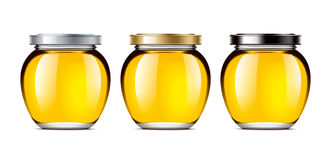 Set jars of honey Royalty Free Stock Images